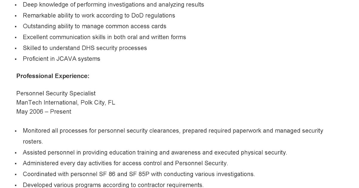 resume samples sample personnel security specialist dod teacher adjectives for resident Resume Dod Security Specialist Resume