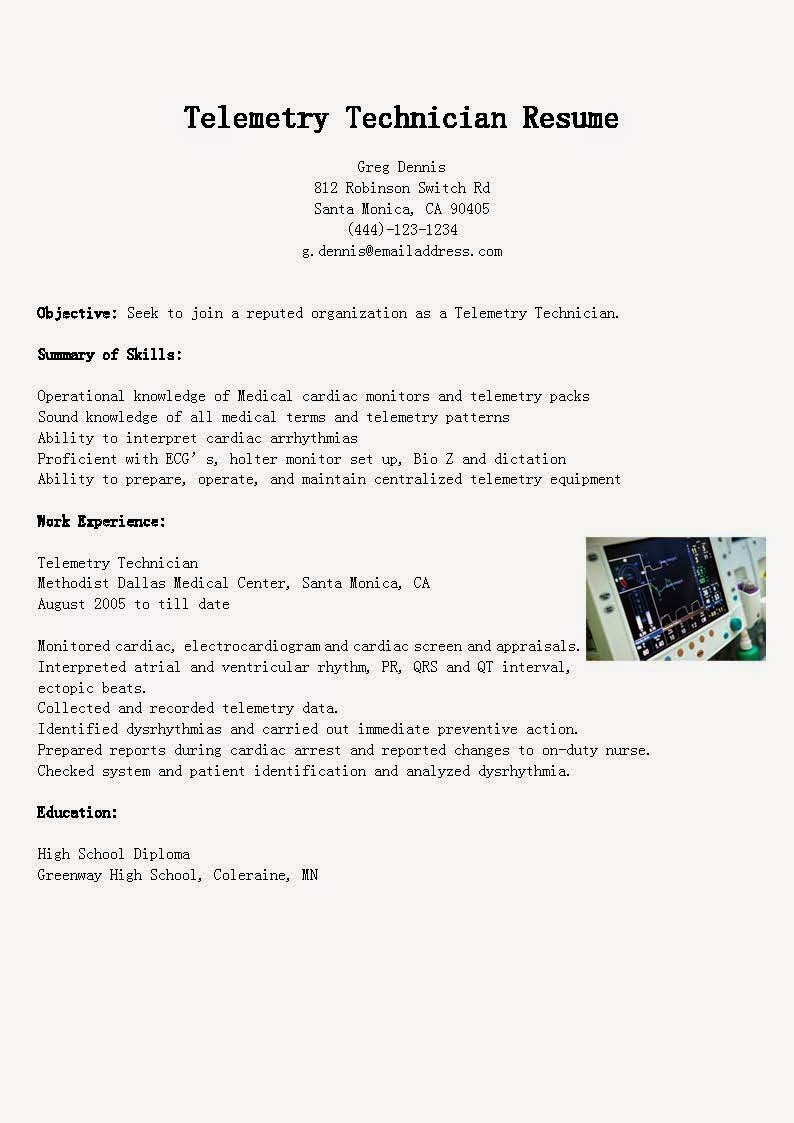 resume samples telemetry technician sample cardiac format electrical designer example Resume Cardiac Technician Resume Format