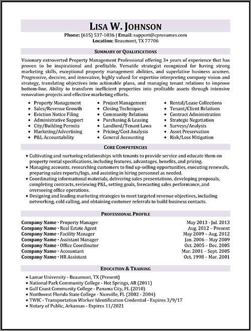 resume samples types of formats examples and templates manager property management job Resume Property Management Objective Resume
