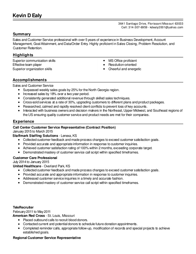 resume summary examples for customer service representative overview revised and of Resume Customer Service Resume Overview