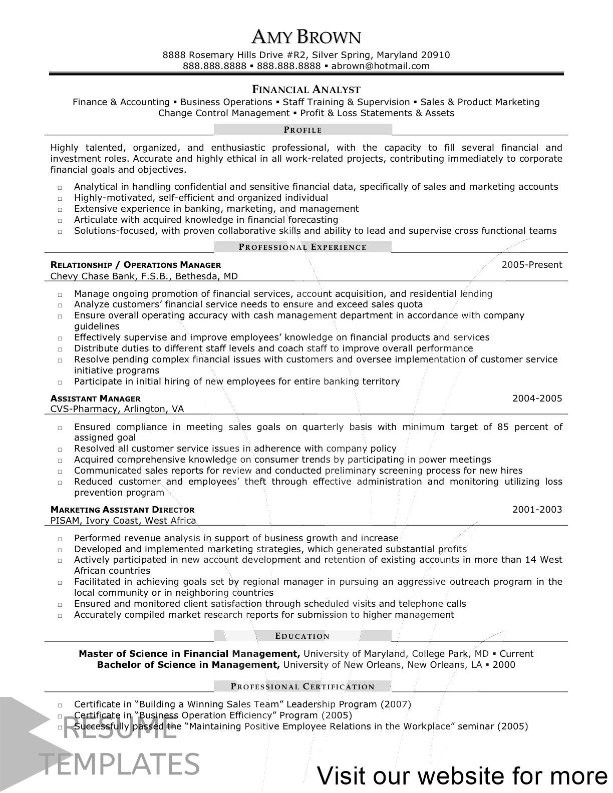 resume template administrative assistant in financial analyst objective examples business Resume Financial Management Resume Objective