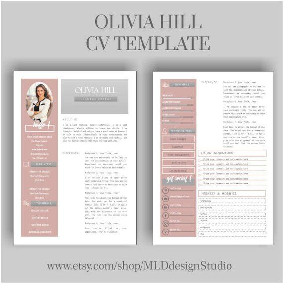 resume template cv cover letter for ms word instant digital olivia free two treasurer Resume Two Page Resume Template Word