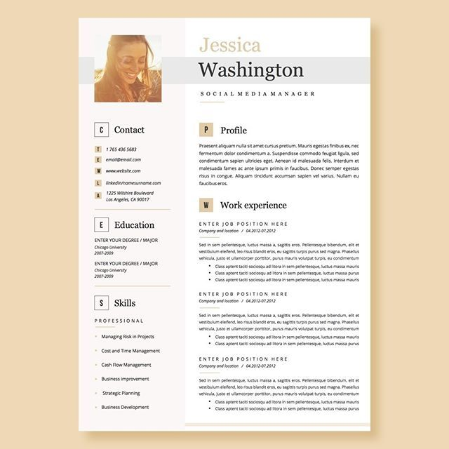 resume template for word with cv photo professional instant and cover letter modern Resume Modern Day Resume Format