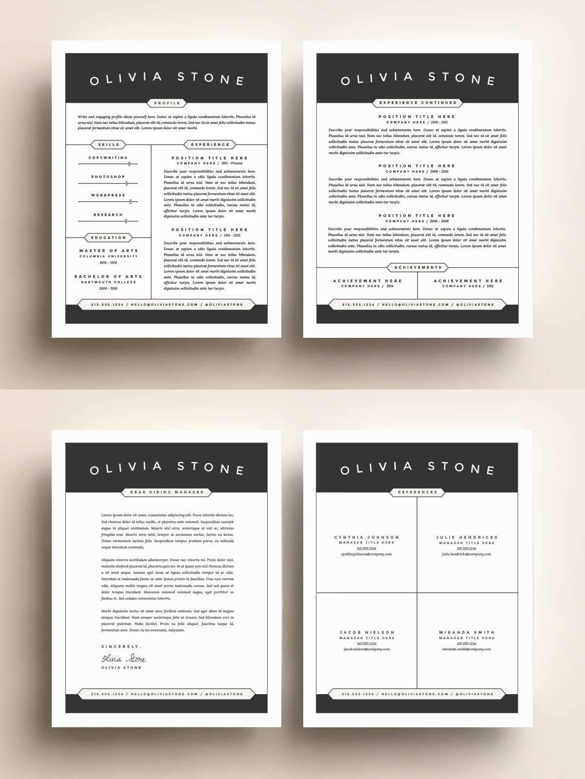 resume template pack cv cover letter for without photo uft sample payroll and benefits Resume Resume Template Without Photo