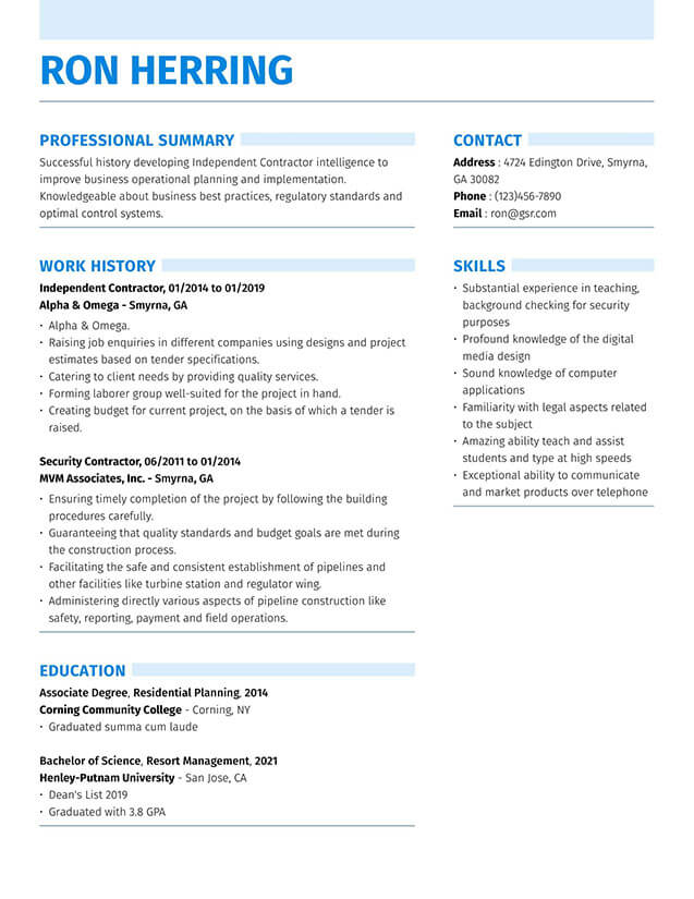 resume templates edit in minutes two column format strong blue telecom domain experience Resume Two Column Resume Format