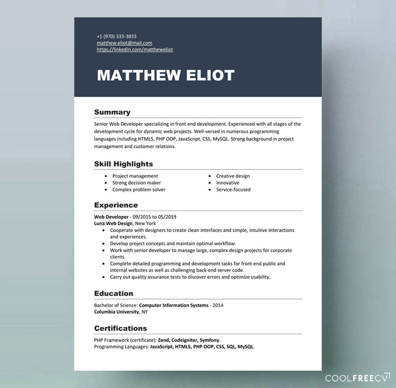 resume templates examples free word modern template it contact information format cerner Resume Modern Resume Template Examples