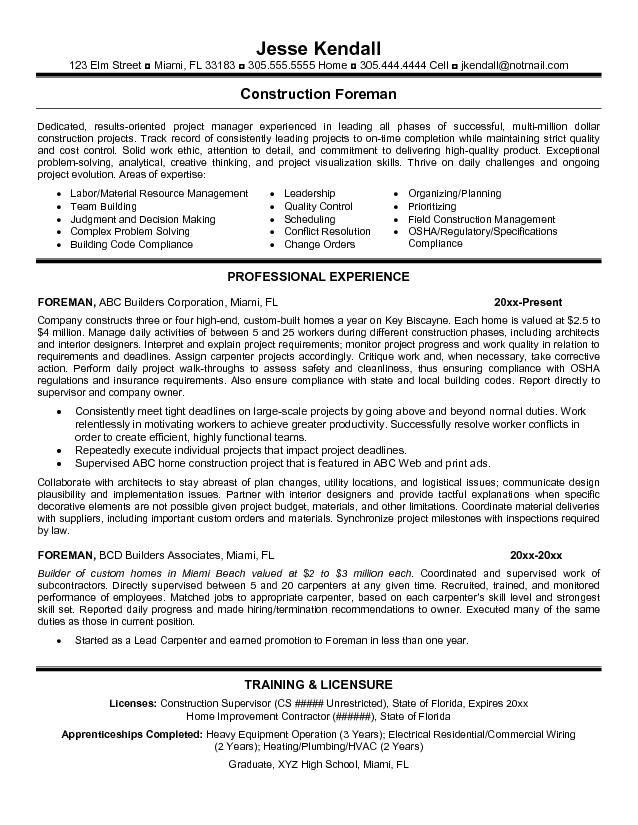 resume templates for construction foreman google search examples sample template free Resume General Contractor Resume Objective Examples