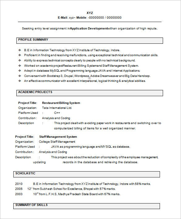 resume templates for freshers pdf free premium interview format it template shift Resume Interview Resume Format For Freshers