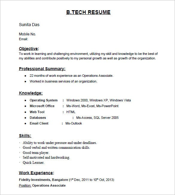 resume templates for freshers pdf free premium standard format tech fresher template high Resume Standard Resume Format For Freshers
