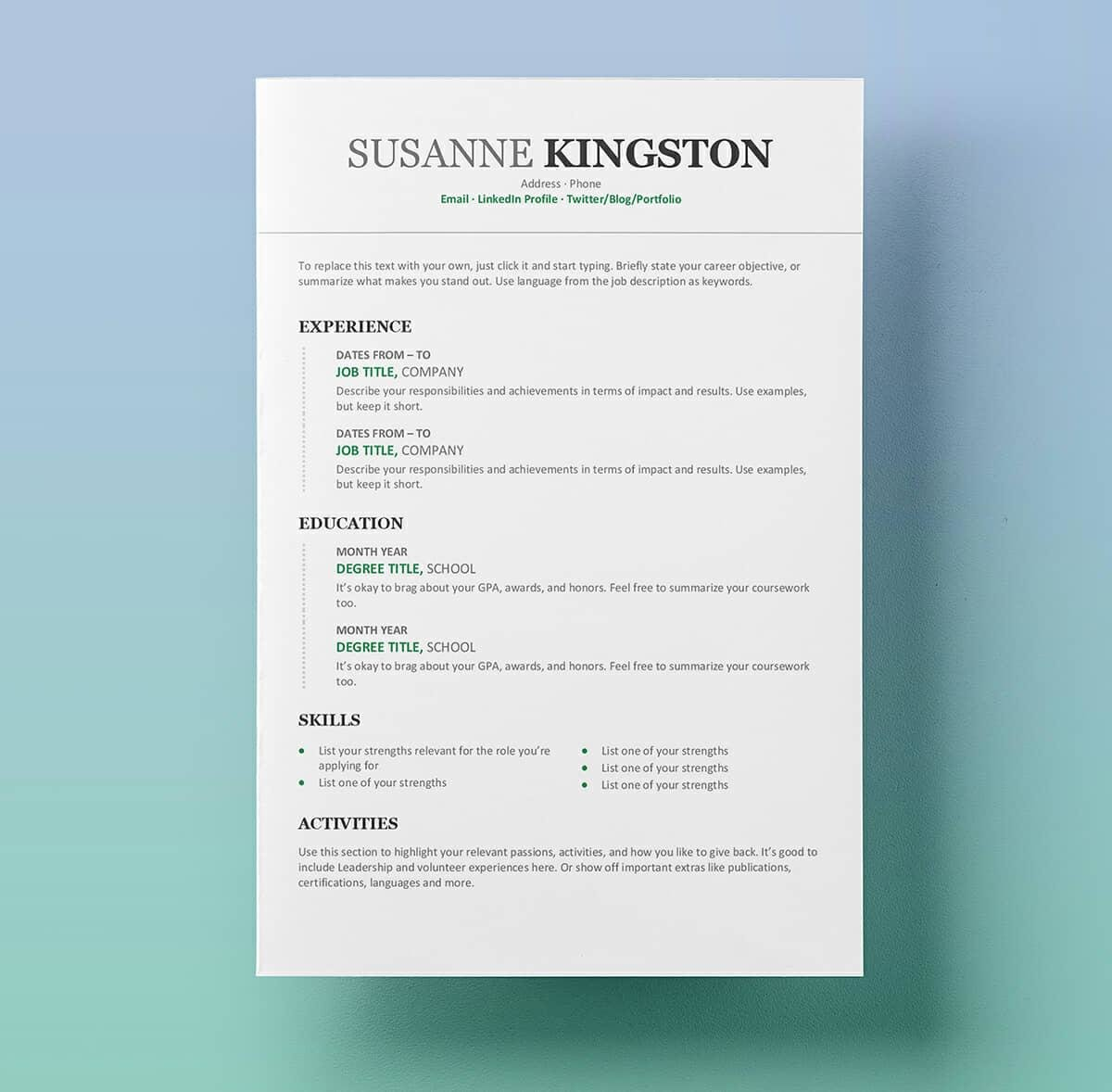 resume templates for microsoft word free modern sample years experience education majors Resume Free Modern Resume Templates For Word