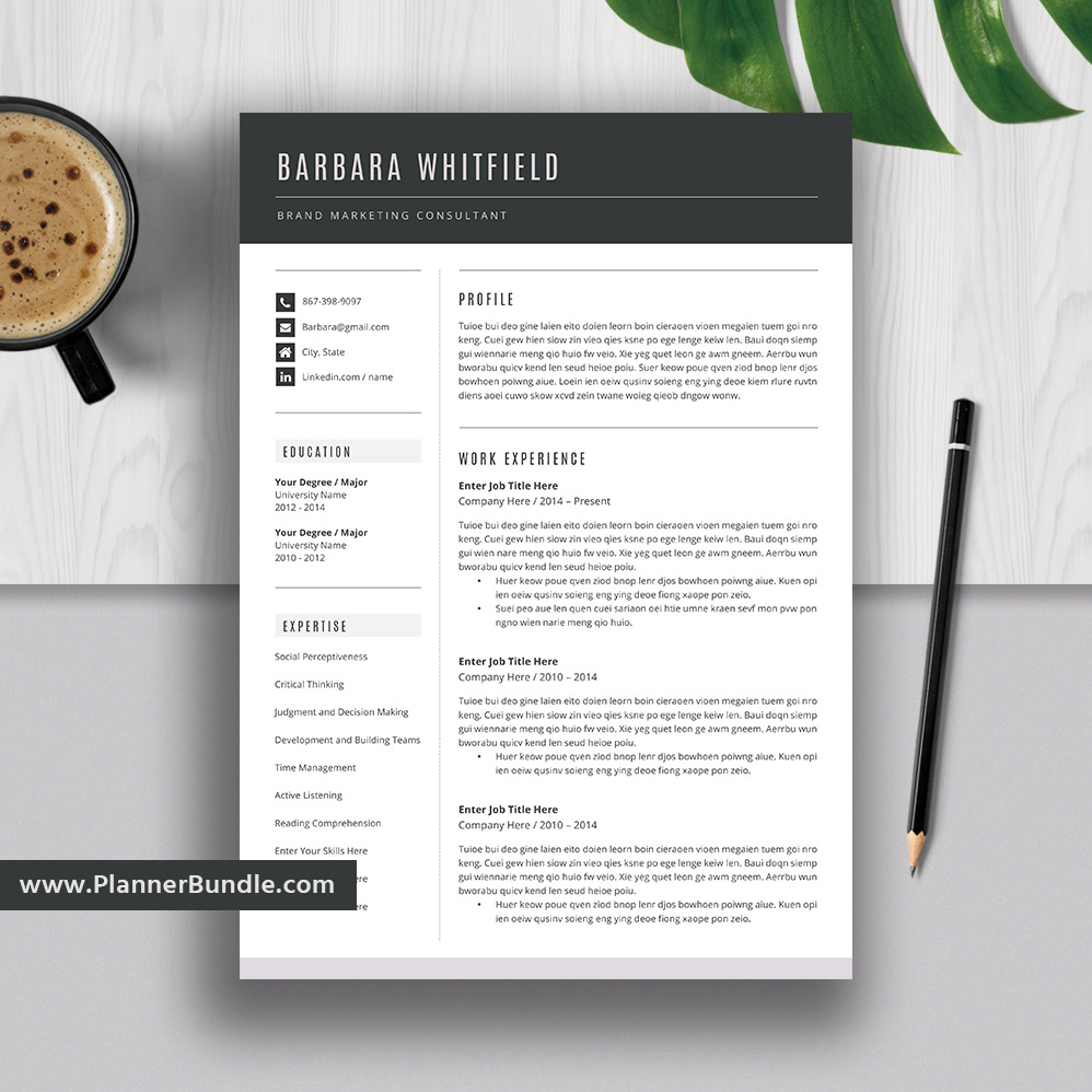resume templates modern bundle cv template word creative cover letter instant the barbara Resume Resume Template Without Photo