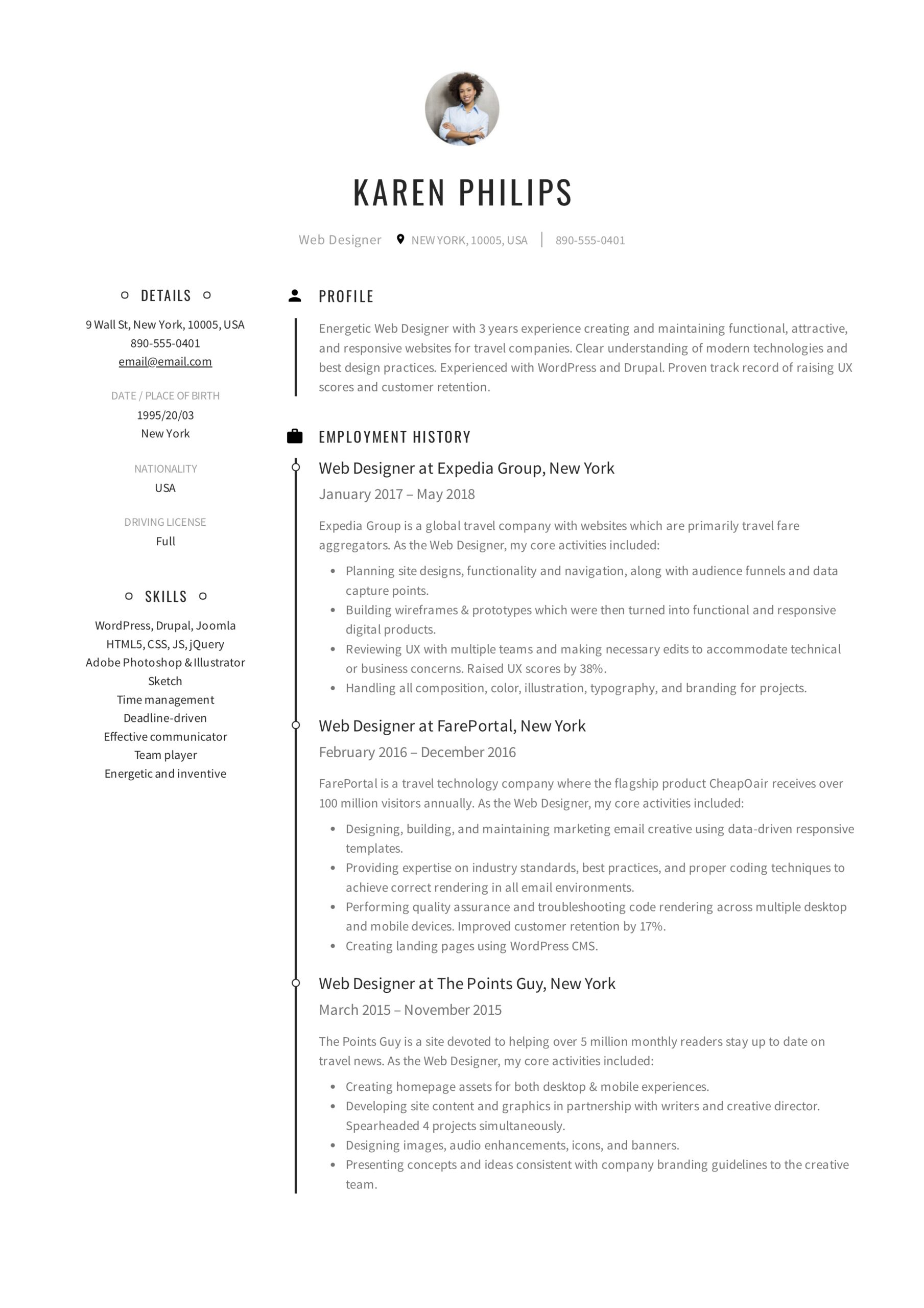 resume templates pdf word free downloads and guides with one job history karen philips Resume Resume With One Job History