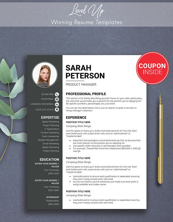 resume with photo two template curriculum etsy one cover letter or certified home health Resume One Or Two Page Resume 2019