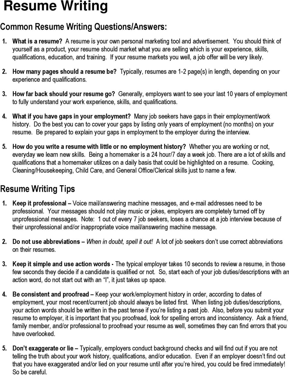 resume writing common questions answers tips pdf free abbreviate months on senior python Resume Abbreviate Months On Resume