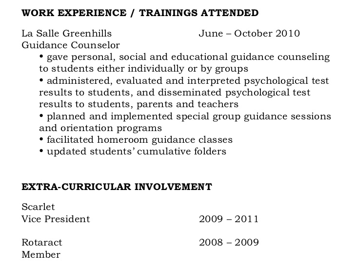 resume writing trainings attended sample personal chef objective interests section skills Resume Trainings Attended Resume Sample