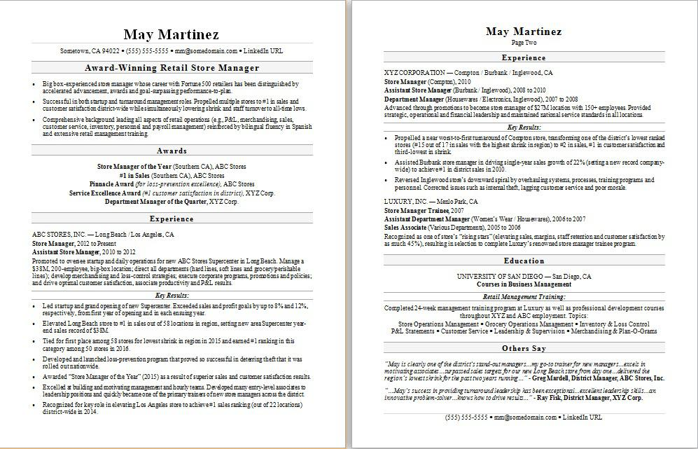retail manager resume sample monster department onboarding experience information Resume Department Manager Resume