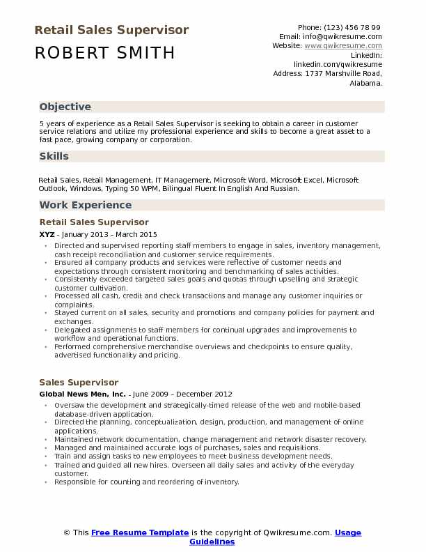 retail supervisor resume samples qwikresume objective for experienced pdf opportunity Resume Resume Objective For Experienced