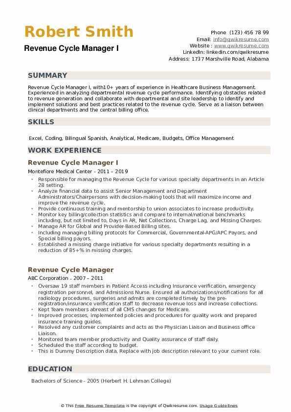 revenue cycle manager resume samples qwikresume pdf cover sheet template software Resume Revenue Cycle Manager Resume