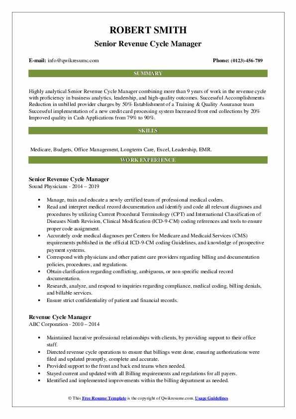 revenue cycle manager resume samples qwikresume pdf listing self employment on accounting Resume Revenue Cycle Manager Resume