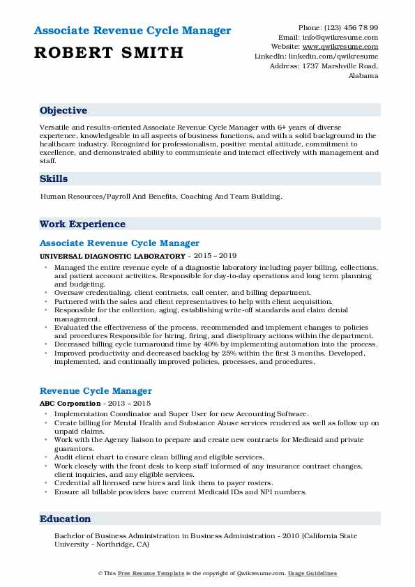 revenue cycle manager resume samples qwikresume pdf listing self employment on student Resume Revenue Cycle Manager Resume