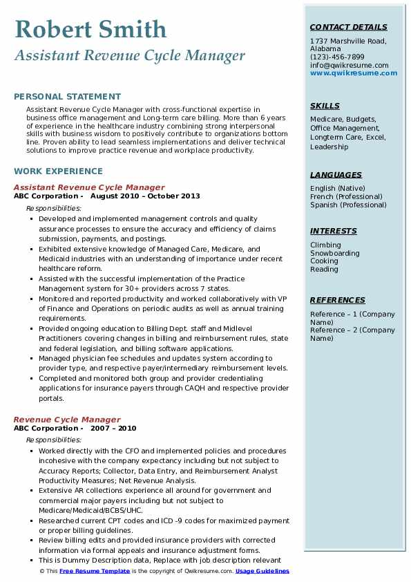 revenue cycle manager resume samples qwikresume pdf nursing assistant examples accounting Resume Revenue Cycle Manager Resume