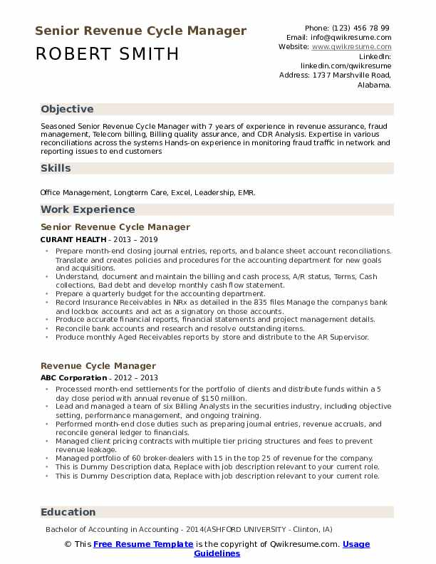 revenue cycle manager resume samples qwikresume pdf nursing assistant examples factory Resume Revenue Cycle Manager Resume
