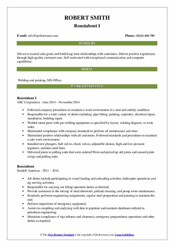 roustabout resume samples qwikresume model pdf preferences arial vs calibri personal Resume Roustabout Resume Model