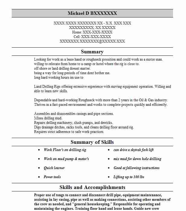 roustabout roughneck resume example ensco offshore company carthage model forklift driver Resume Roustabout Resume Model