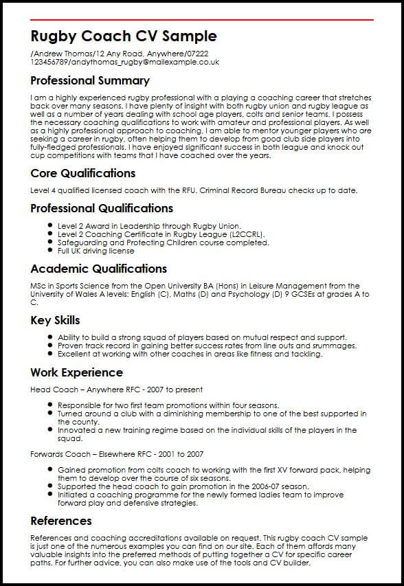 rugby coach cv example myperfectcv resume description sample child care objective entry Resume Coach Resume Description
