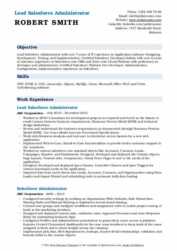 salesforce administrator resume samples qwikresume experience format pdf examples for Resume Salesforce Experience Resume Format