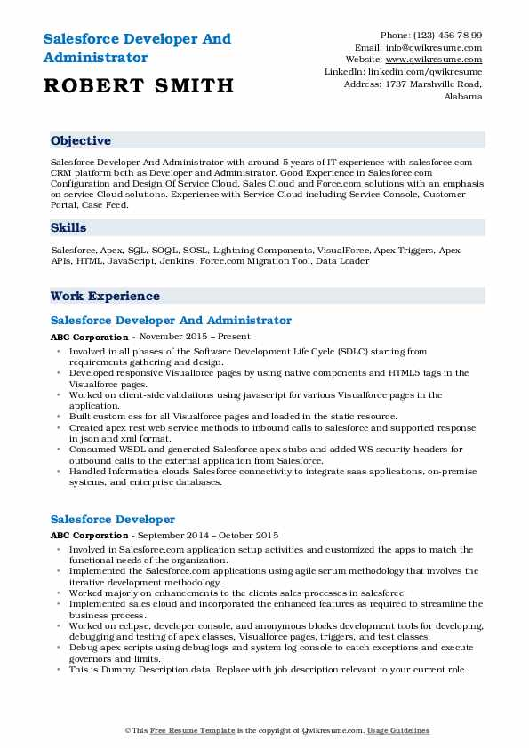 salesforce developer resume samples qwikresume experience format pdf about call center Resume Salesforce Experience Resume Format