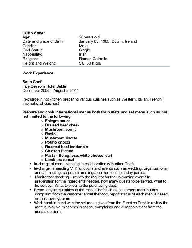 sample chef cv for overseas jobs resume employment chefcv free of job application format Resume Resume For Overseas Employment