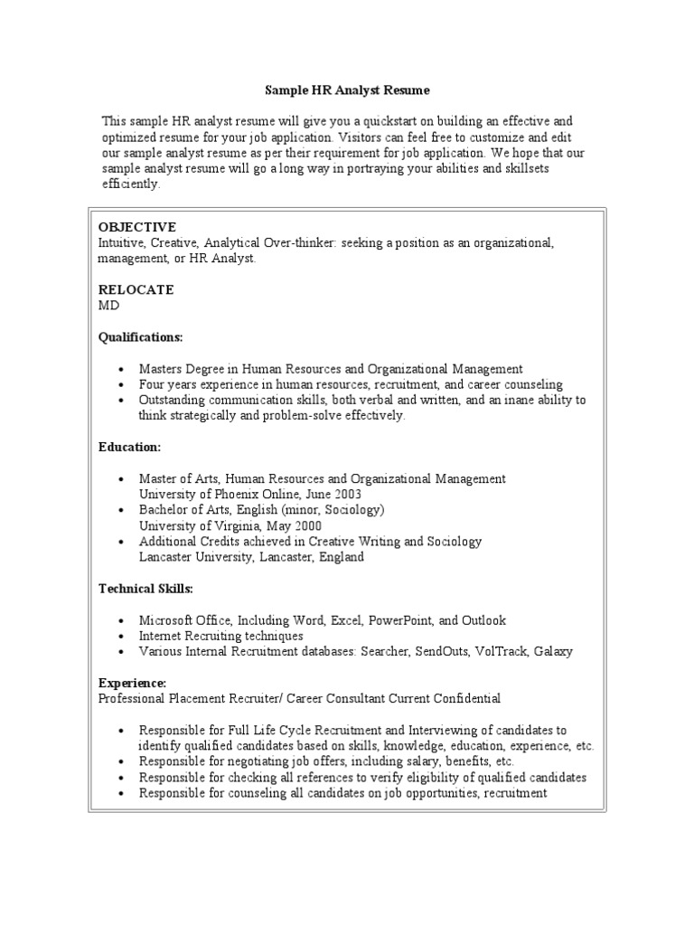sample hr analyst resume recruitment résumé human resources area manager firefighter Resume Human Resources Analyst Resume