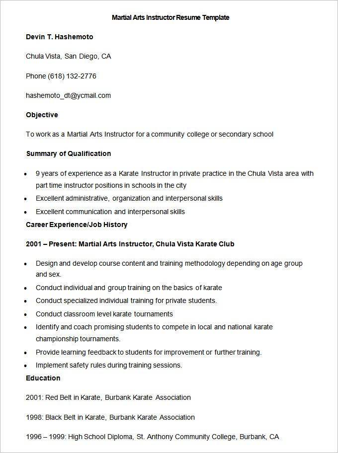 sample martial arts instructor resume template to make good teacher free examples Resume Martial Arts Experience Resume
