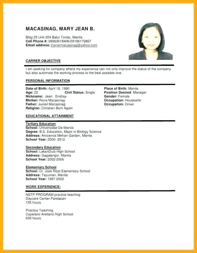 sample of resume format for job application templates writing marketing manager Resume Writing A Resume For A Job Application