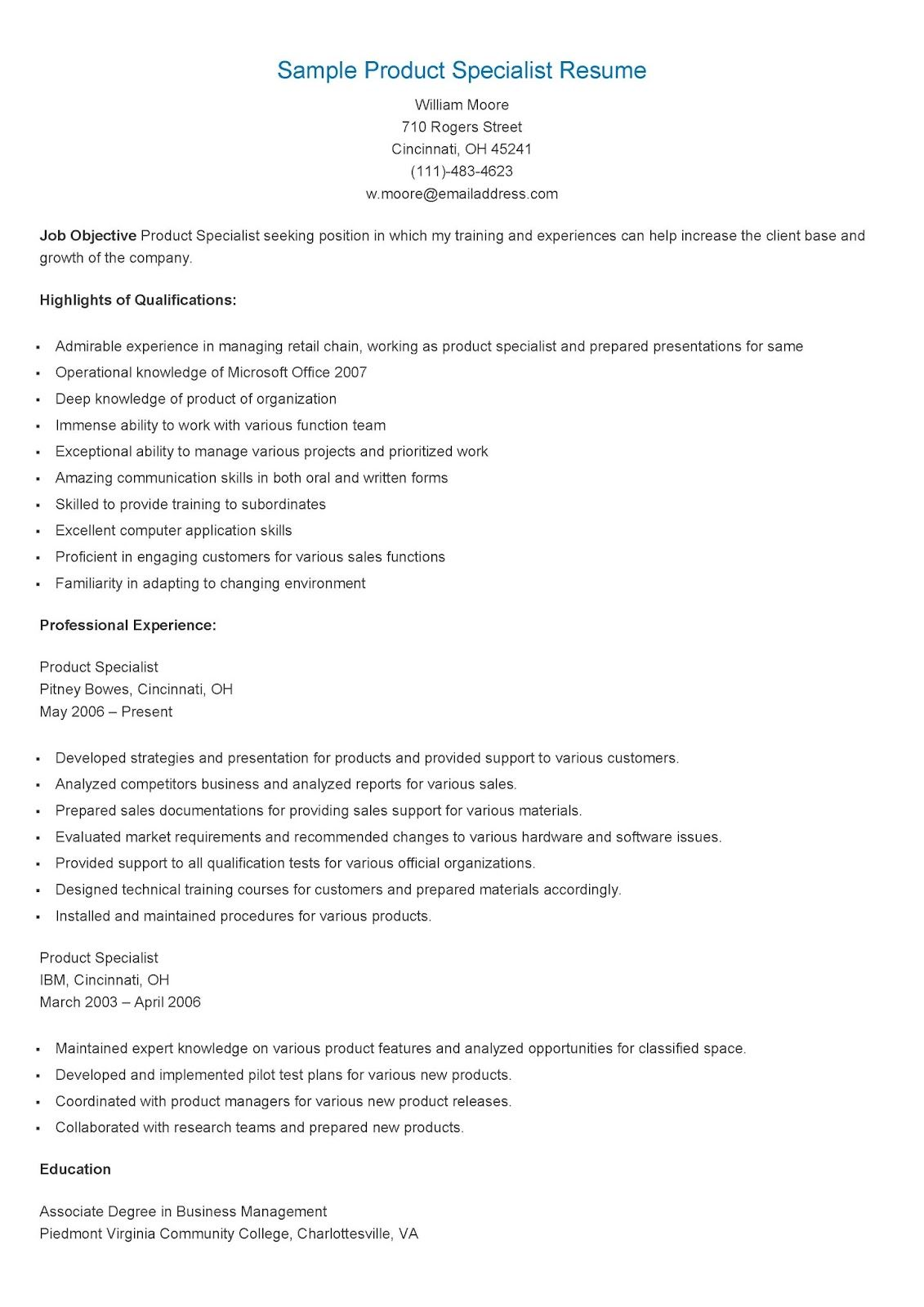 sample product specialist resume quality assurance beginner first job ballet technical Resume Product Specialist Resume Sample