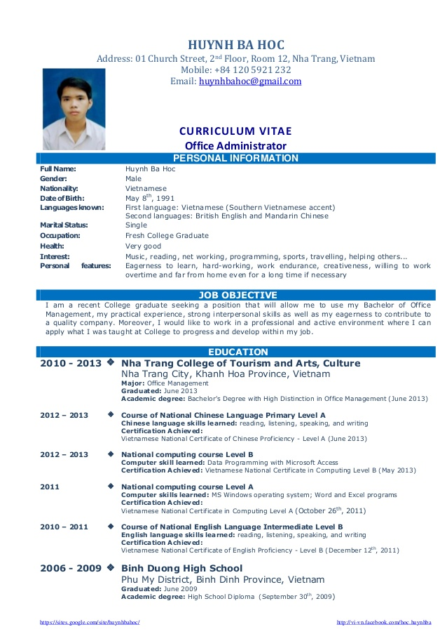 sample resume business administration fresh graduate examples library best objectives for Resume Best Resume Objectives For Fresh Graduates
