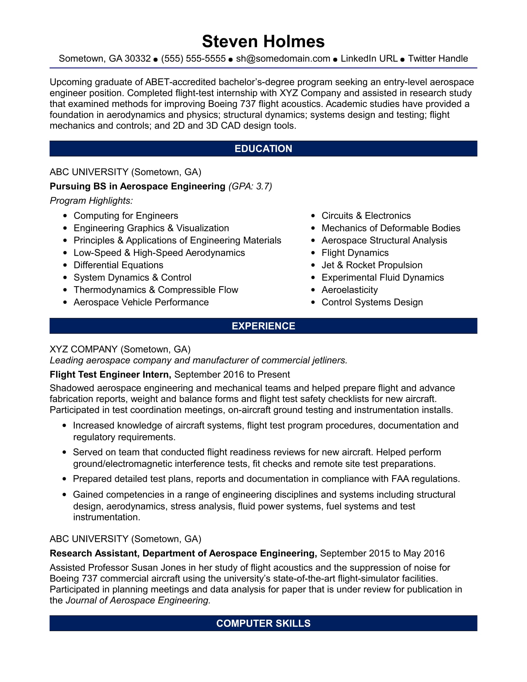 sample resume for an entry level aerospace engineer monster engineering student levels of Resume Aerospace Engineering Student Resume
