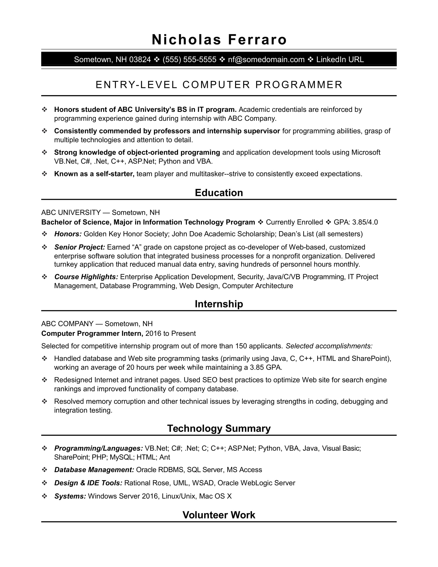 sample resume for an entry level computer programmer monster best programming projects Resume Best Programming Projects For Resume