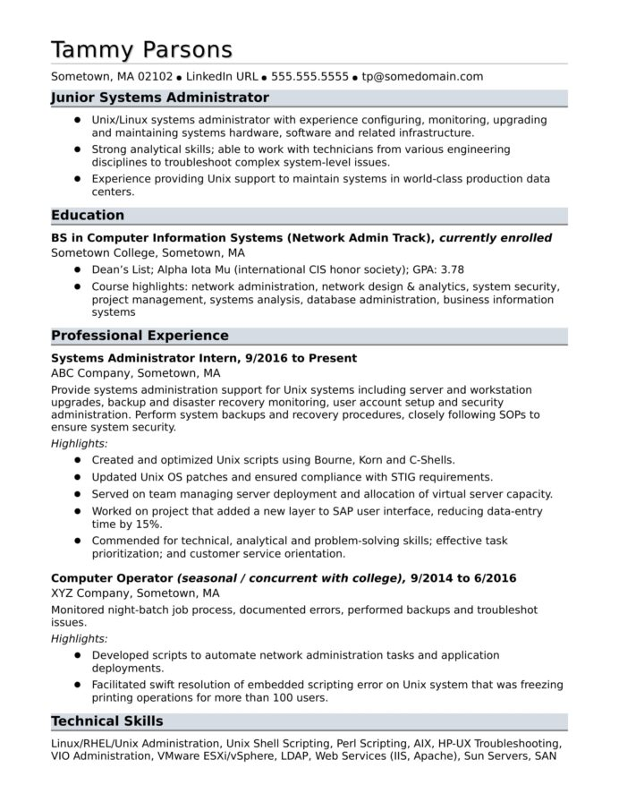 sample resume for an entry level systems administrator monster experienced system visual Resume Sample Resume For Experienced System Administrator