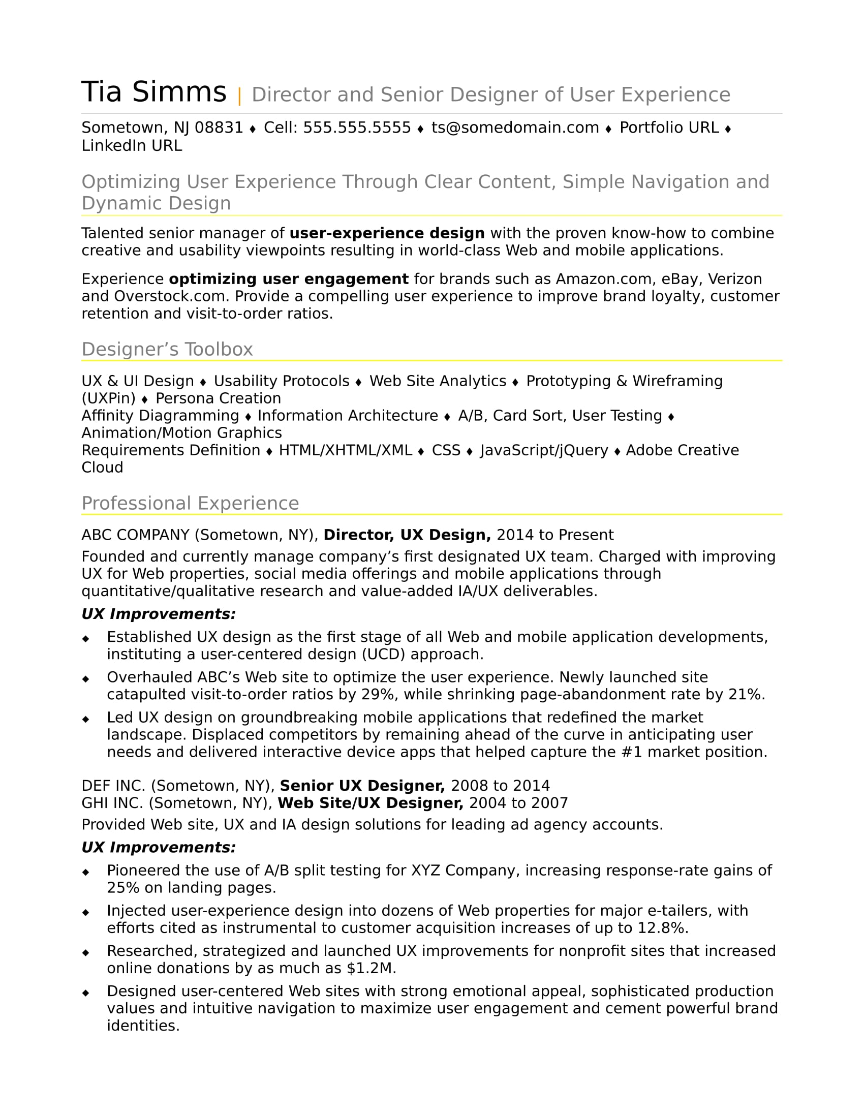 sample resume for an experienced ux designer monster examples abroad apple specialist Resume Experienced Person Resume Examples