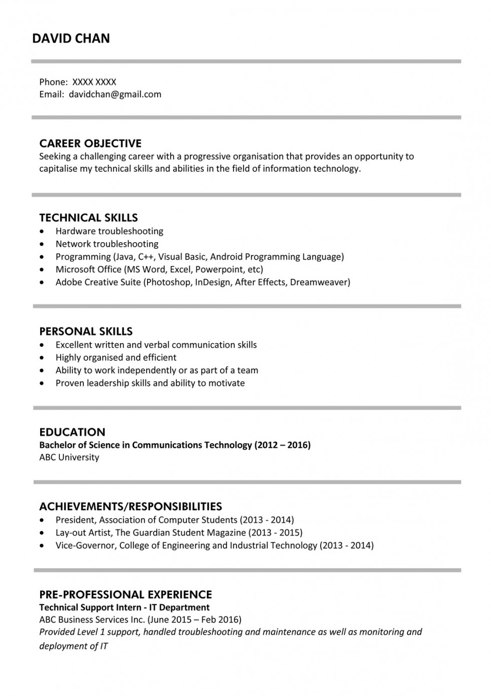 sample resume for fresh graduates it professional jobsdb hong kong formats template Resume Resume Objective For Fresh Graduate Petroleum Engineer