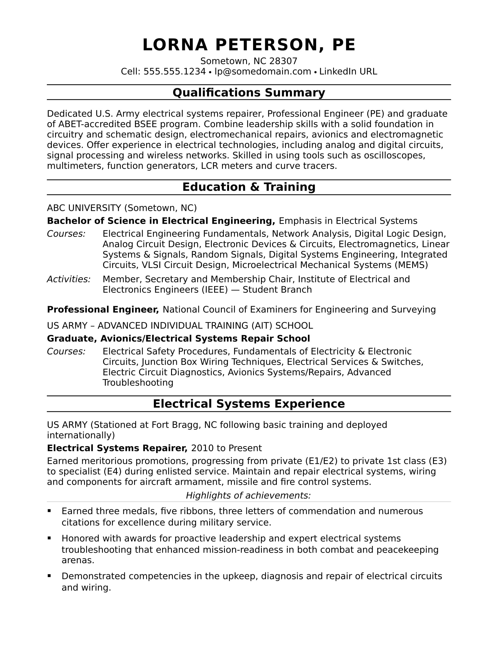 sample resume for midlevel electrical engineer monster experienced electronics entry Resume Sample Resume For Experienced Electronics Engineer