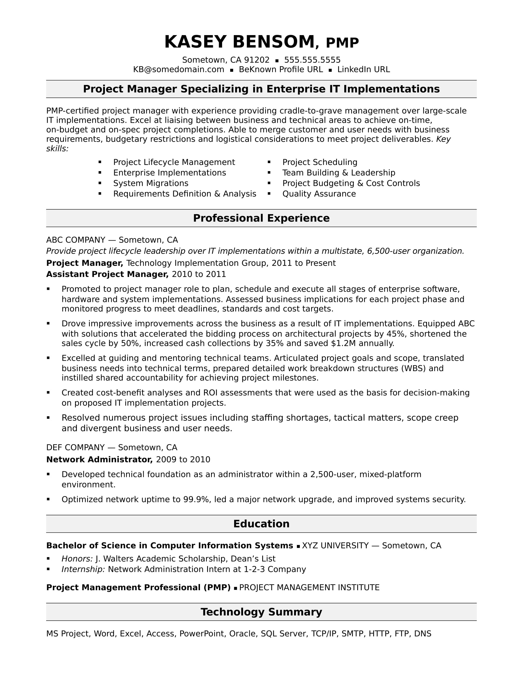 sample resume for midlevel it project manager monster summary examples technical comp sci Resume Project Manager Resume Summary Examples