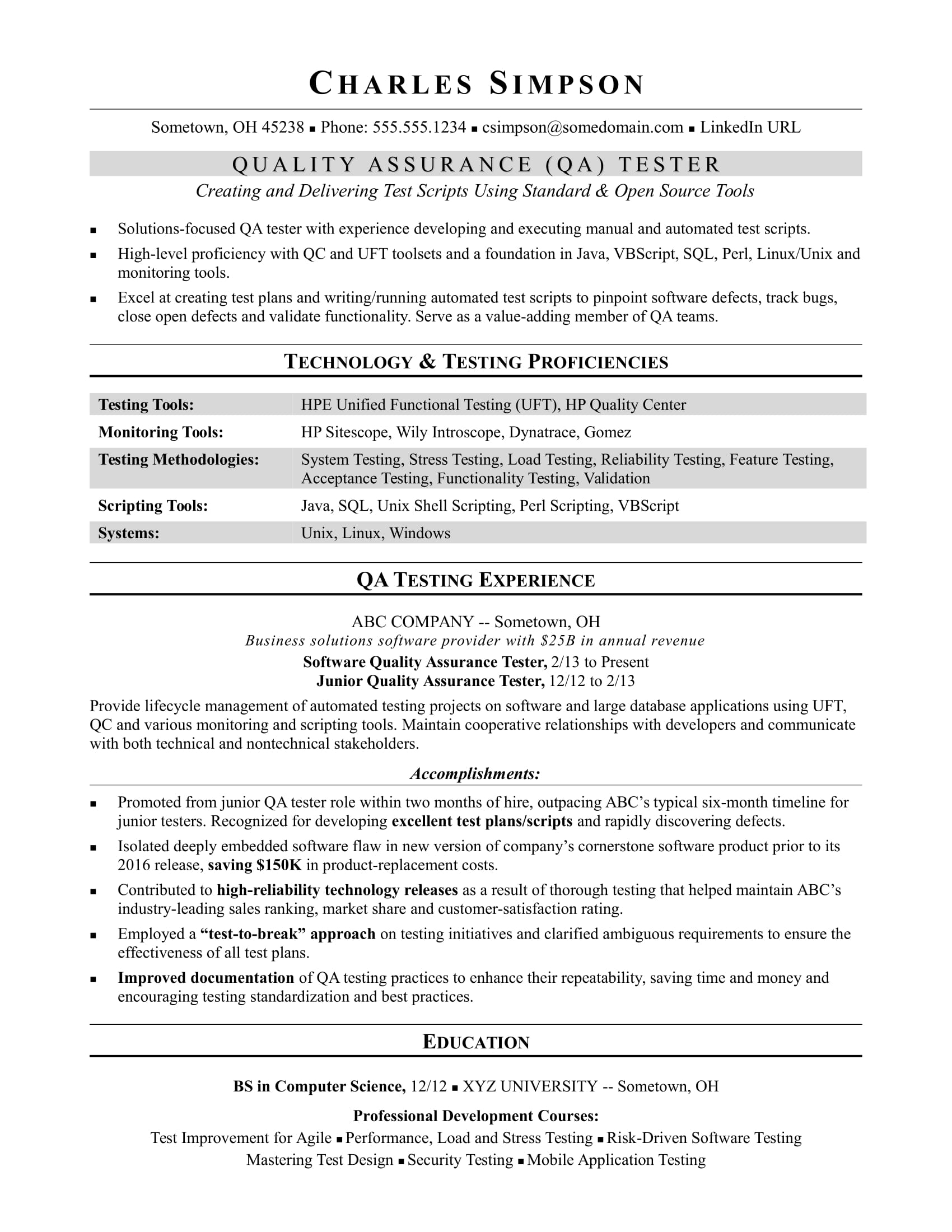 sample resume for midlevel qa software tester monster quality assurance experience purdue Resume Quality Assurance Experience Resume