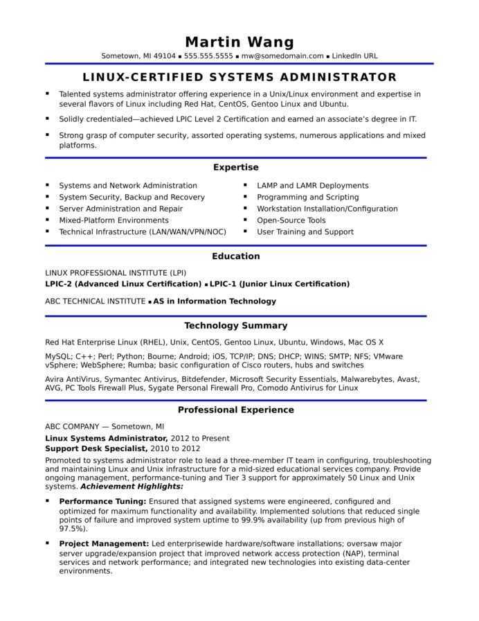 sample resume for midlevel systems administrator monster experienced system mckinsey Resume Sample Resume For Experienced System Administrator