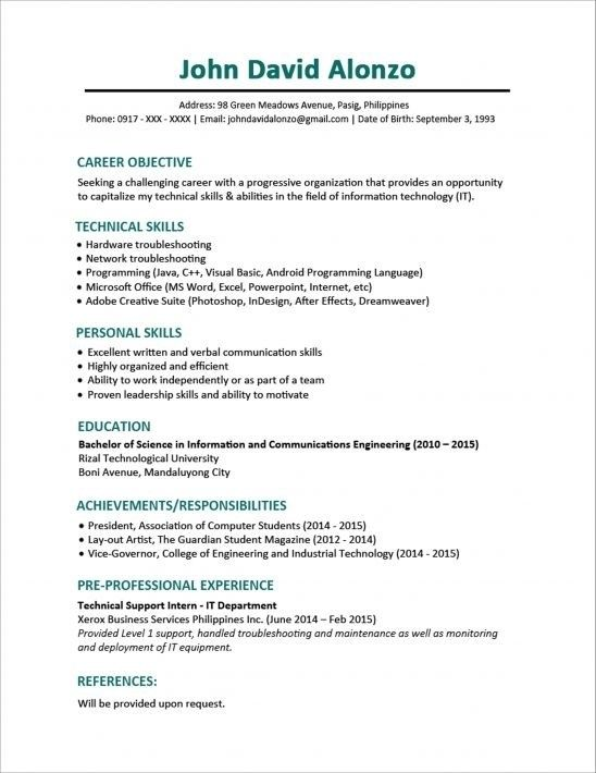 sample resume format for fresh graduates one in student template word free objective Resume Resume Objective For Fresh Graduate Petroleum Engineer