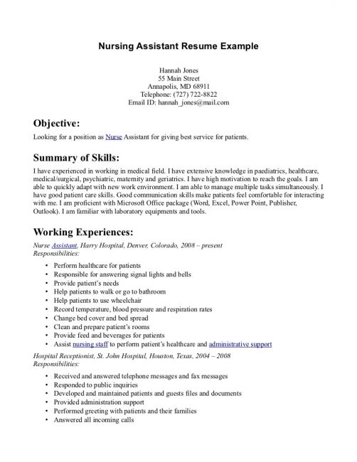 sample resume nursing assistant resumes for aide without experience pharmaceutical Resume Sample Resume For Nursing Aide Without Experience