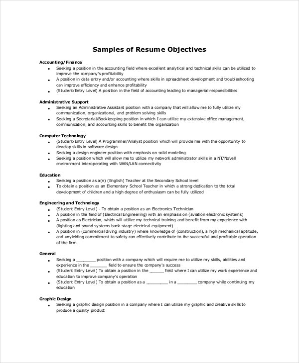 sample resume objectives pdf free premium templates good general objective examples Resume Good General Resume Objective Examples