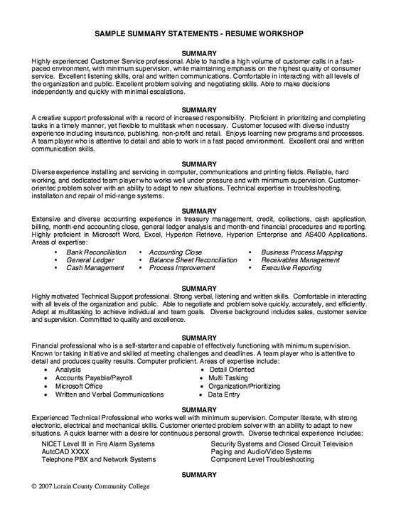 sample summary statements resume workshop free statement professional samples self for Resume Self Summary For Resume Sample